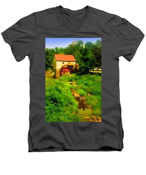 Old Mill In Springtime Men's V-Neck T-Shirt
