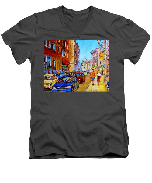 Men's V-Neck T-Shirt featuring the painting Old Montreal by Carole Spandau