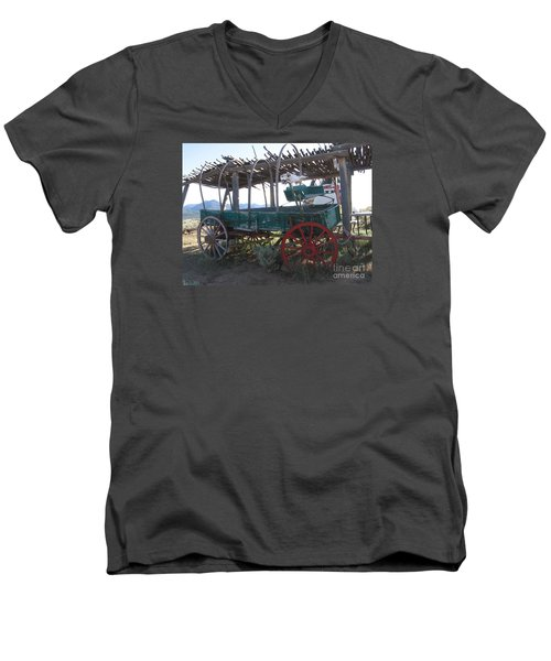 Men's V-Neck T-Shirt featuring the photograph Old Native American Wagon by Dora Sofia Caputo Photographic Art and Design