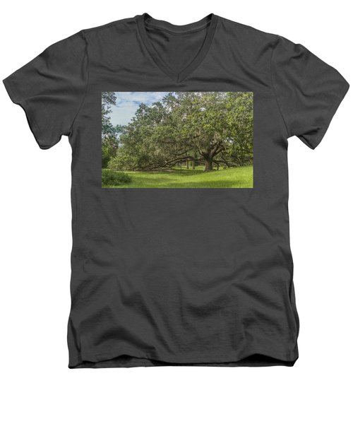 Men's V-Neck T-Shirt featuring the photograph Old Oak Tree by Jane Luxton