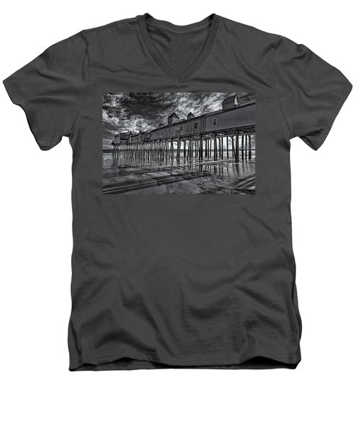 Old Orchard Beach Pier Bw Men's V-Neck T-Shirt by Susan Candelario