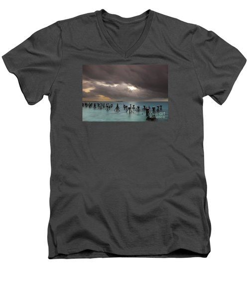 Old Pier In The Florida Keys Men's V-Neck T-Shirt by Keith Kapple