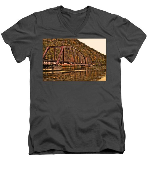 Men's V-Neck T-Shirt featuring the photograph Old Railroad Bridge With Sepia Tones by Jonny D