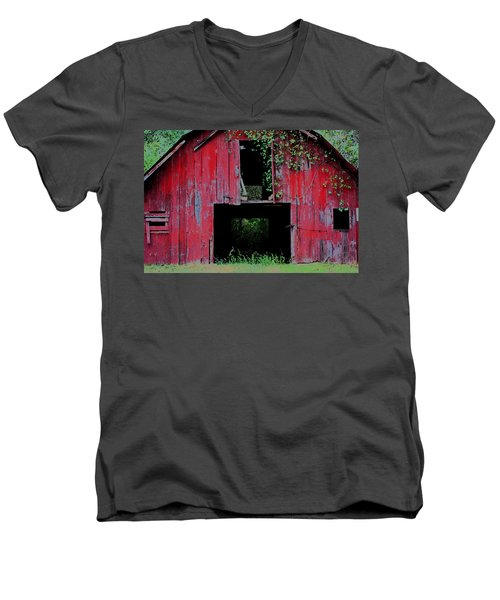 Men's V-Neck T-Shirt featuring the photograph Old Red Barn IIi by Lanita Williams