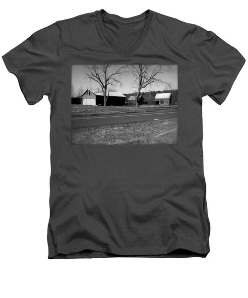 Old Red Barn In Black And White Men's V-Neck T-Shirt by Amazing Photographs AKA Christian Wilson