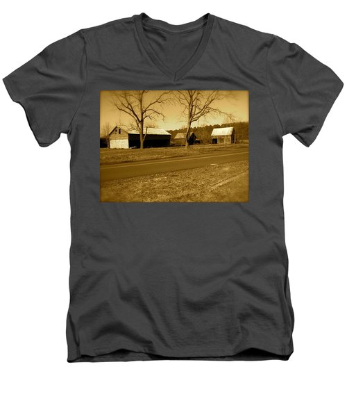 Men's V-Neck T-Shirt featuring the photograph Old Red Barn In Sepia by Amazing Photographs AKA Christian Wilson