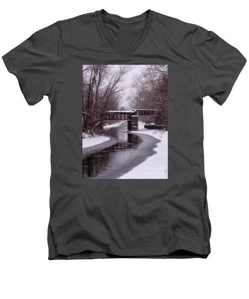 The Nifti Railroad Bridge Men's V-Neck T-Shirt