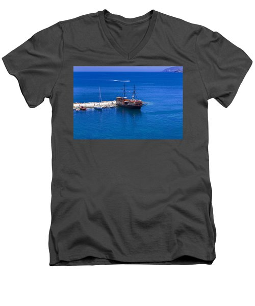Old Sailing Ship In Bali Men's V-Neck T-Shirt