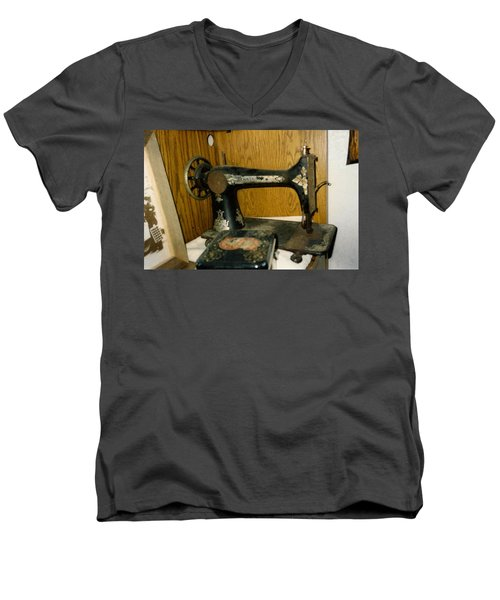 Old Sewing Machine Men's V-Neck T-Shirt by Amazing Photographs AKA Christian Wilson