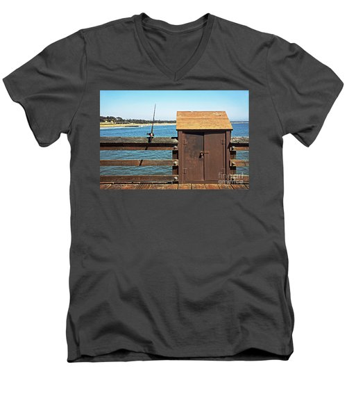 Men's V-Neck T-Shirt featuring the photograph Old Shed On Ventura Pier by Susan Wiedmann
