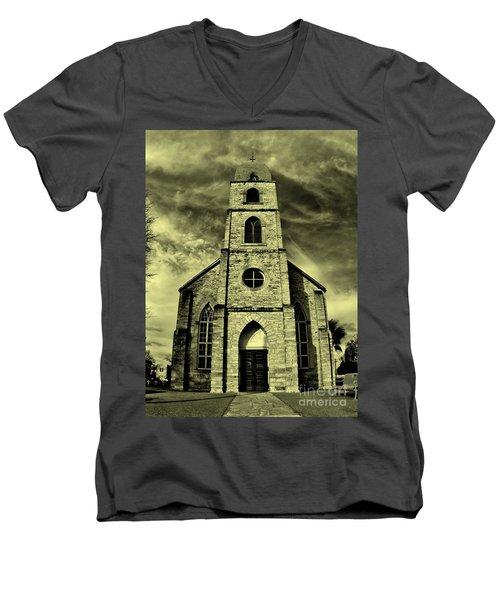 Old St. Mary's Church In Fredericksburg Texas In Sepia Men's V-Neck T-Shirt