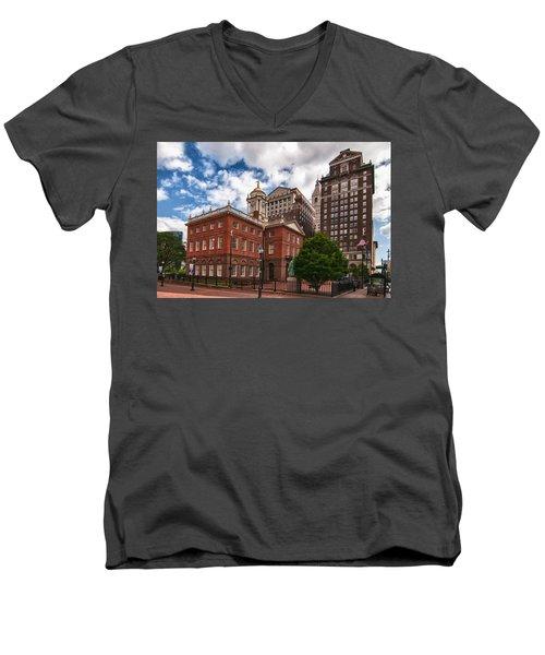 Old State House Men's V-Neck T-Shirt by Guy Whiteley