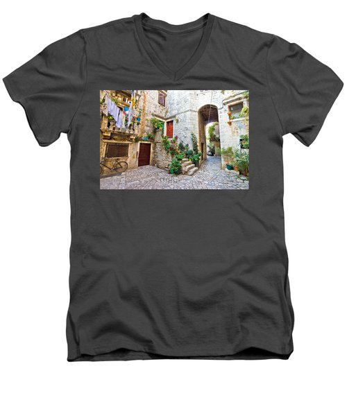 Old Stone Street Of Trogir Men's V-Neck T-Shirt