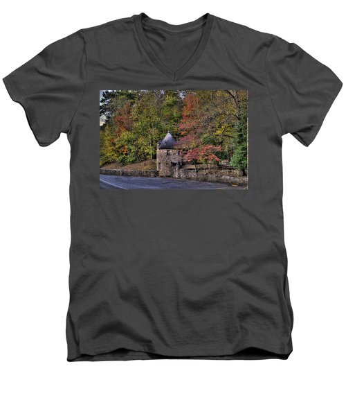 Men's V-Neck T-Shirt featuring the photograph Old Stone Tower At The Edge Of The Forest by Jonny D