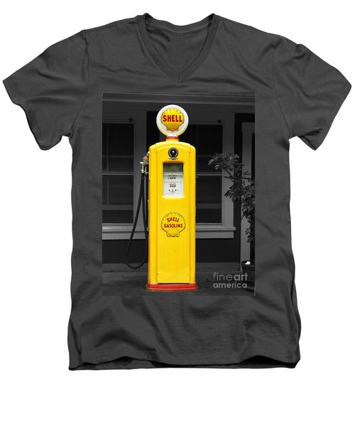 Men's V-Neck T-Shirt featuring the photograph Old Time Gas Pump by David Lawson