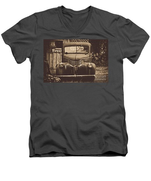 Men's V-Neck T-Shirt featuring the photograph Old Times by Alana Ranney
