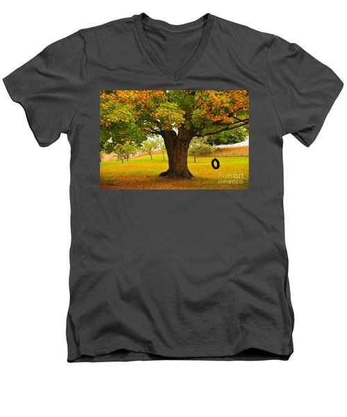 Men's V-Neck T-Shirt featuring the photograph Old Tire Swing by Terri Gostola