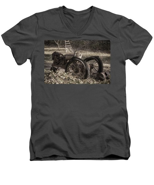 Men's V-Neck T-Shirt featuring the photograph Old Tractor by Lynn Geoffroy