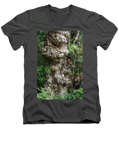 Men's V-Neck T-Shirt featuring the mixed media Old Tree by Rafael Salazar
