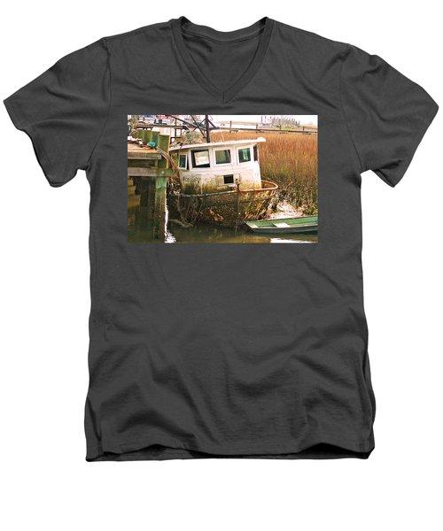 Old Tugboat By Jan Marvin Men's V-Neck T-Shirt