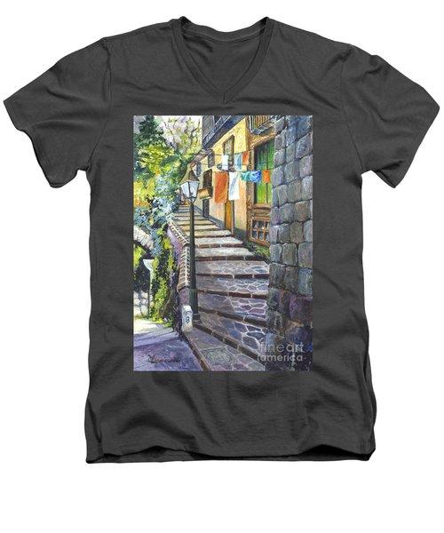Old Village Stairs - In Tuscany Italy Men's V-Neck T-Shirt by Carol Wisniewski
