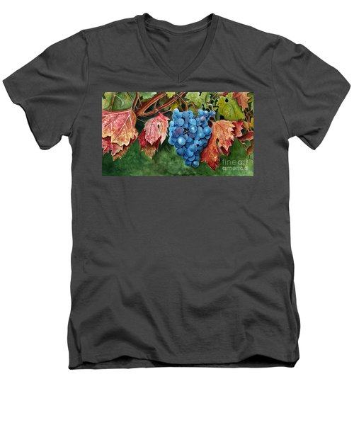 Old Vine Zinfandel Men's V-Neck T-Shirt by Debbie Hart