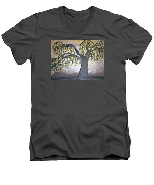 Old Willow Men's V-Neck T-Shirt by Cathy Anderson