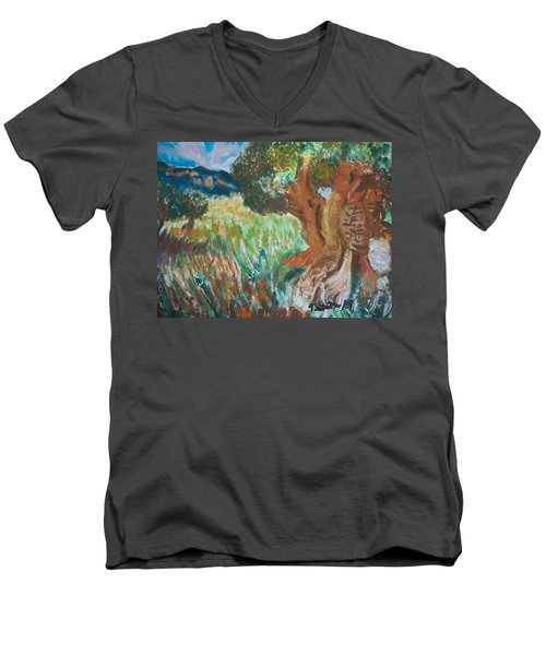 Men's V-Neck T-Shirt featuring the painting Olive Trees by Teresa White