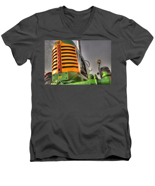 Oliver Tractor Men's V-Neck T-Shirt by Michael Eingle