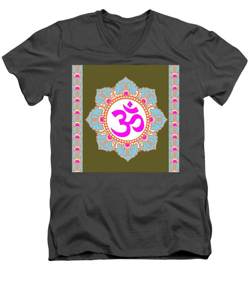 Men's V-Neck T-Shirt featuring the photograph Om Mantra Ommantra 3 by Navin Joshi