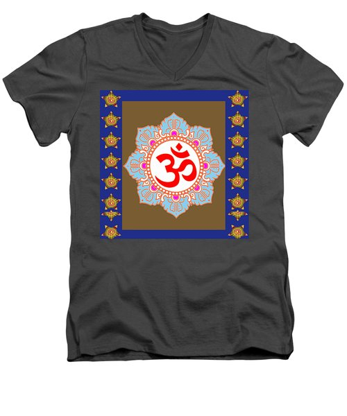 Men's V-Neck T-Shirt featuring the photograph Om Mantra Ommantra Chant Yoga Meditation Tool by Navin Joshi