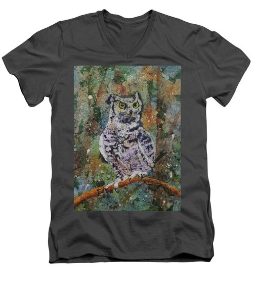 Men's V-Neck T-Shirt featuring the painting On Alert by Ruth Kamenev