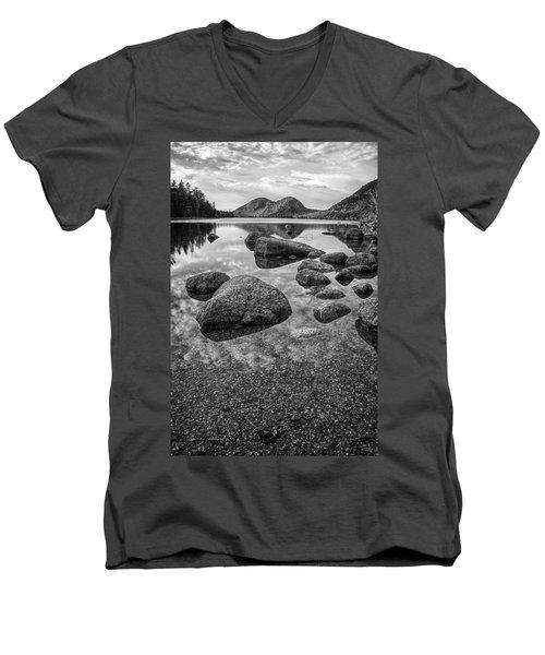 Men's V-Neck T-Shirt featuring the photograph On Jordan Pond by Kristopher Schoenleber