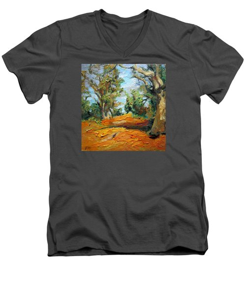 Men's V-Neck T-Shirt featuring the painting On The Forest by Jieming Wang