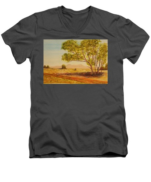 Men's V-Neck T-Shirt featuring the painting On The Road To Broken Hill Nsw Australia by Tim Mullaney