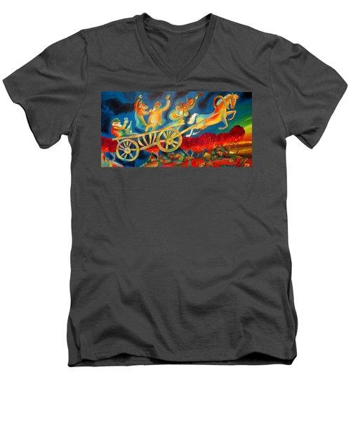On The Road To Rebbe Men's V-Neck T-Shirt by Leon Zernitsky