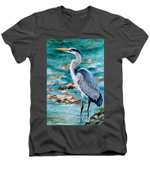 On The Rocks Great Blue Heron Men's V-Neck T-Shirt