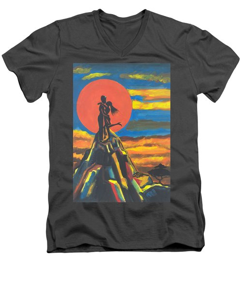 On The Summit Of Love Men's V-Neck T-Shirt