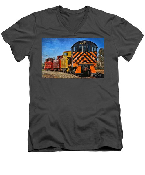 On The Tracks Men's V-Neck T-Shirt by Peggy Hughes