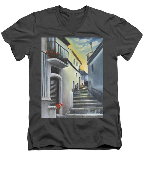 On The Way To Mamma's House In Castelluccio Italy Men's V-Neck T-Shirt by Lucia Grilletto