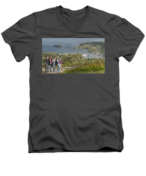 Men's V-Neck T-Shirt featuring the photograph On Top Of Mount Battie by Daniel Hebard