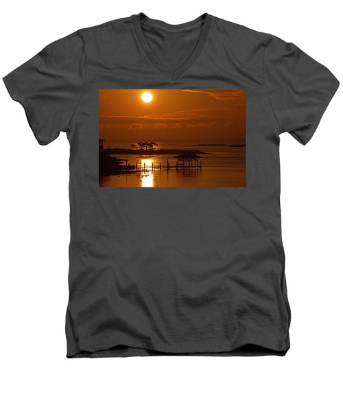 Men's V-Neck T-Shirt featuring the digital art On Top Of Tacky Jacks Sunrise by Michael Thomas