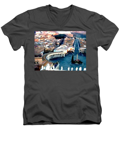 Men's V-Neck T-Shirt featuring the digital art On Top Of Vatican 1 by Brian Reaves