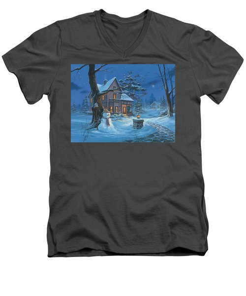 Once Upon A Winter's Night Men's V-Neck T-Shirt by Michael Humphries