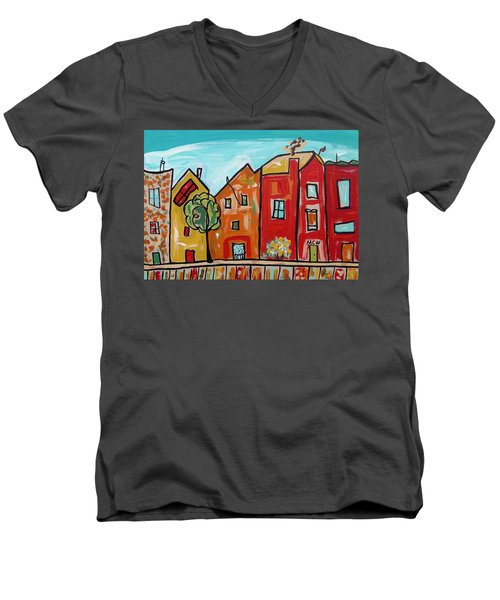 Men's V-Neck T-Shirt featuring the painting One House Has A Screen Door by Mary Carol Williams