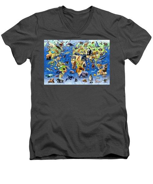One Hundred Endangered Species Men's V-Neck T-Shirt by Adrian Chesterman