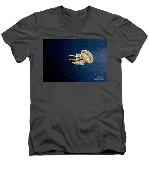One Jelly Fish Art Prints Men's V-Neck T-Shirt by Valerie Garner