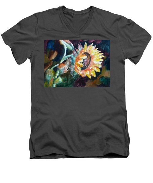 One Sunflower Men's V-Neck T-Shirt
