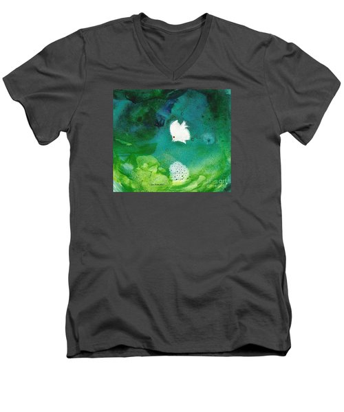 Men's V-Neck T-Shirt featuring the painting One White by Joan Hartenstein