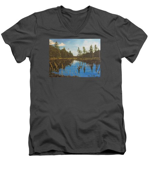 Men's V-Neck T-Shirt featuring the painting O'neal Lake by Wendy Shoults